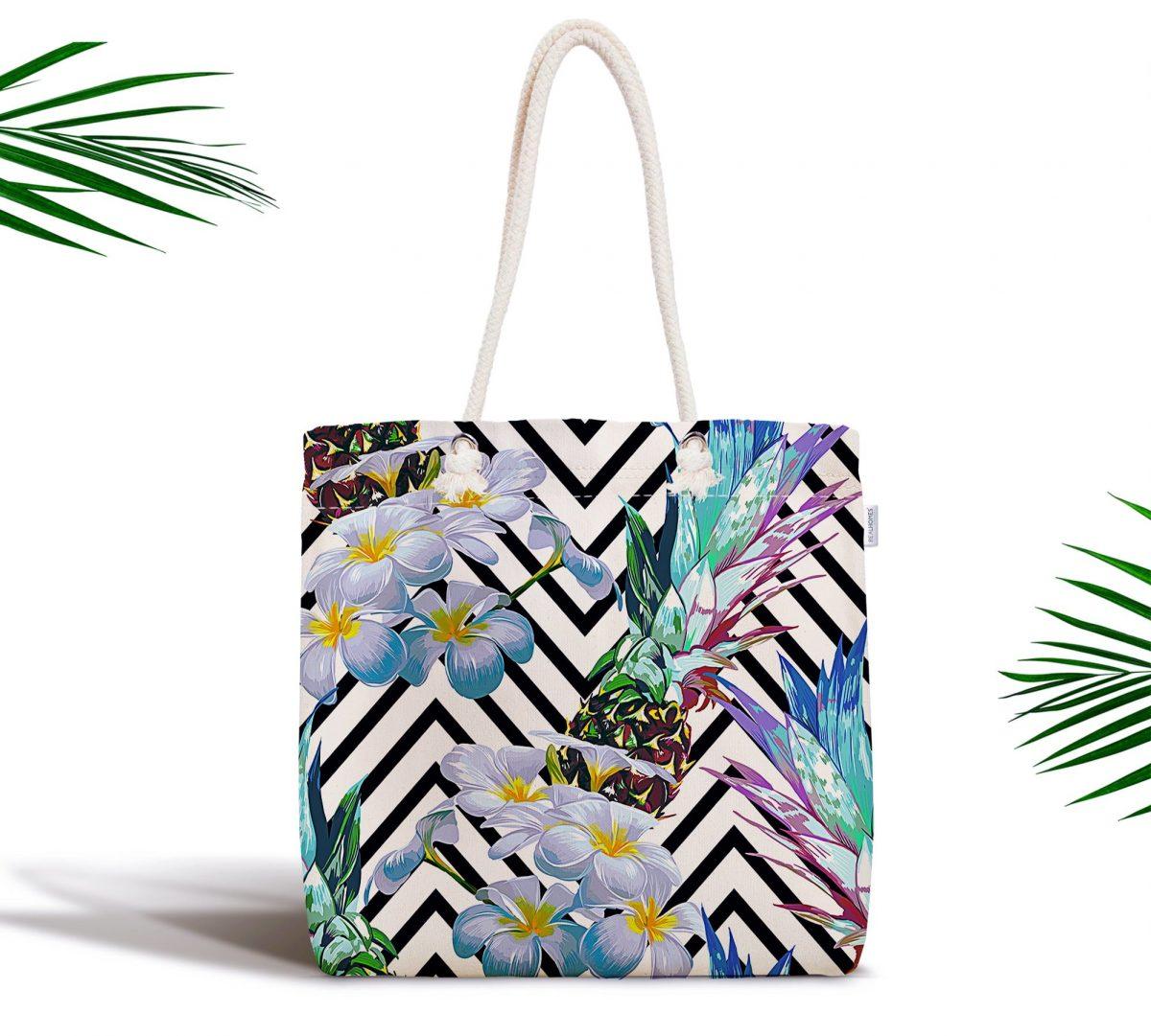 Zigzag Zeminli Yaz Egzotiği Özel Tasarımlı Fermuarlı Kumaş Çanta Realhomes