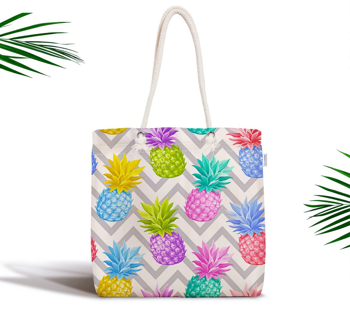 Gri Zigzag Desenli Ananaslar Modern Fermuarlı Kumaş Çanta Realhomes