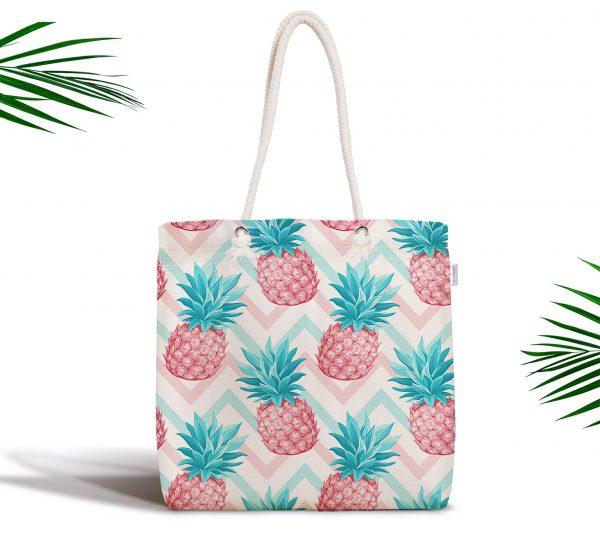 Renkli Zeminli Ananaslar Özel Tasarım Fermuarlı Kumaş Çanta Realhomes