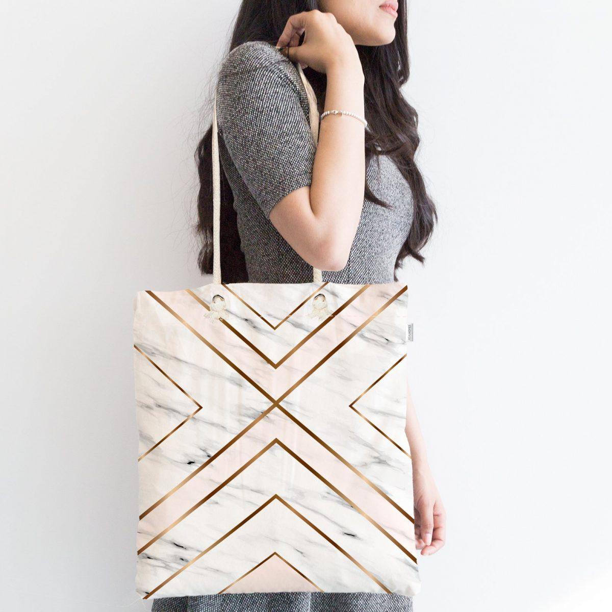 Mermer Zeminli Geometrik Detaylı Modern Fermuarlı Kumaş Çanta Realhomes