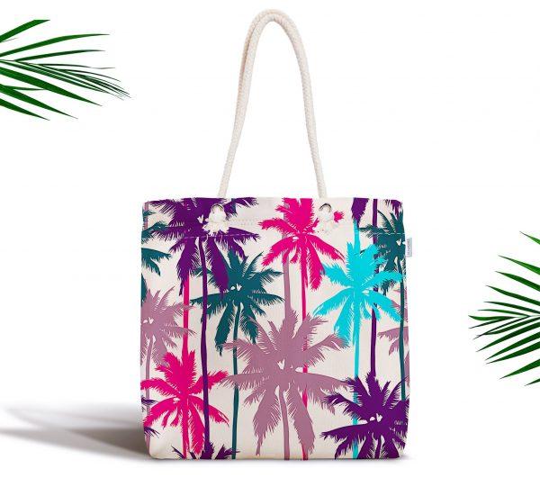 Renkli Palmiyeler Özel Tasarımlı Dijital Baskılı Fermuarlı Plaj Çantası Realhomes