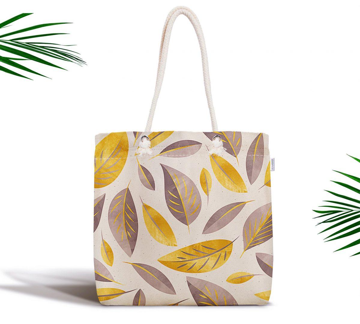 Renkli Sonbahar Yaprakları Özel Tasarımlı Modern Fermuarlı Kumaş Çanta Realhomes