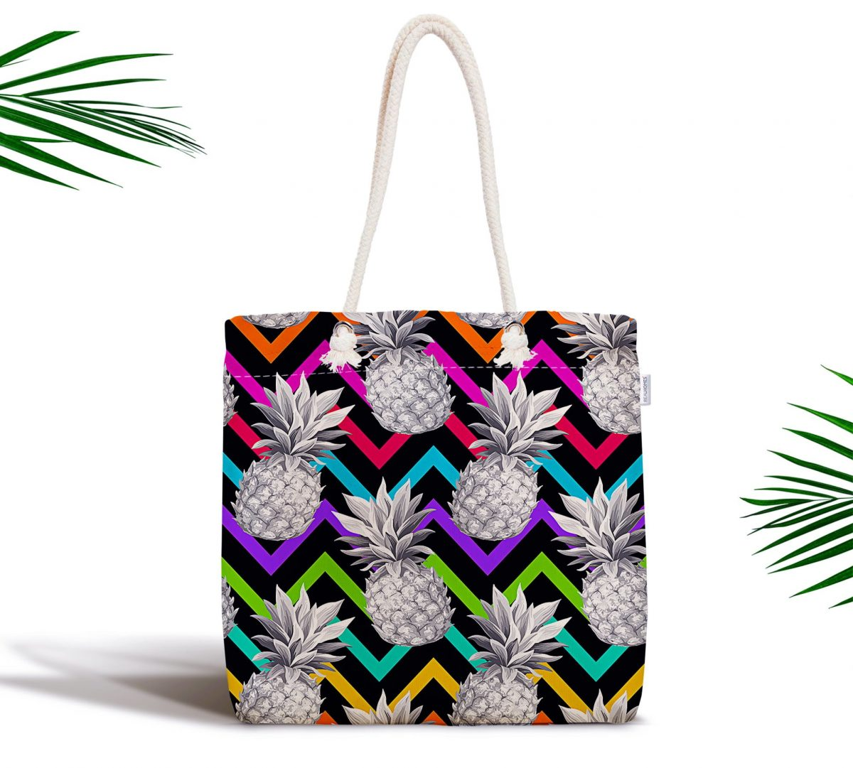 Siyah Zigzag Temalı Ananas Desenli Modern Fermuarlı Kumaş Çanta Realhomes