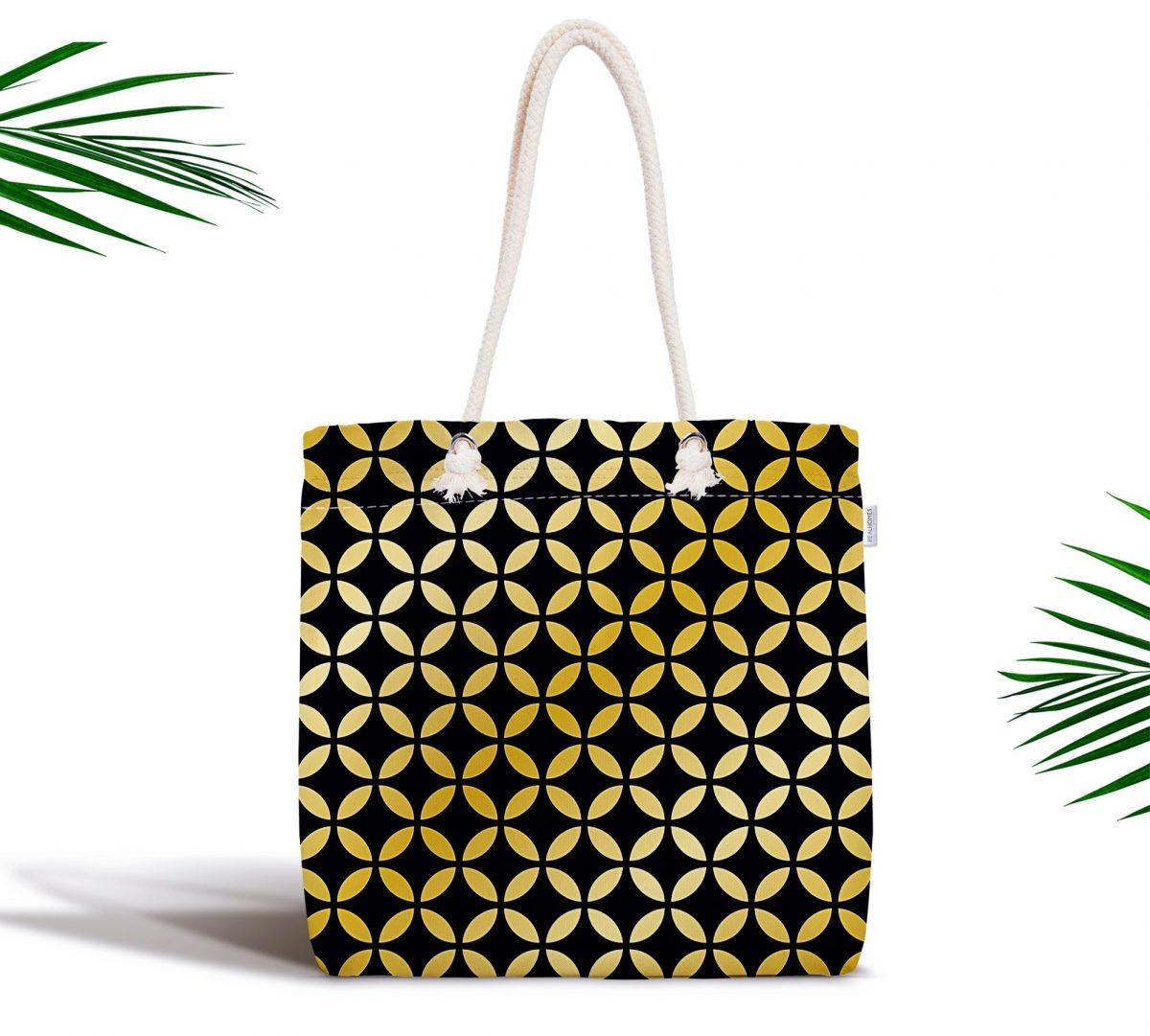 Siyah Zeminde Gold Geometrik Desenli Fermuarlı Modern Kumaş Çanta Realhomes