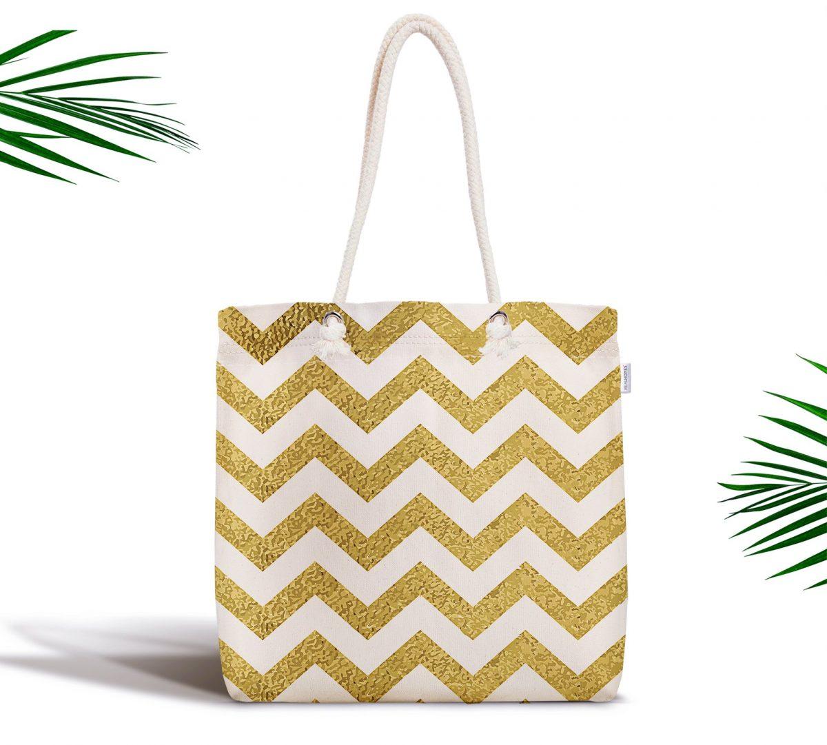 Zigzag Altın Kabartma Desenli Modern Tasarımlı Fermuarlı Kumaş Çanta Realhomes