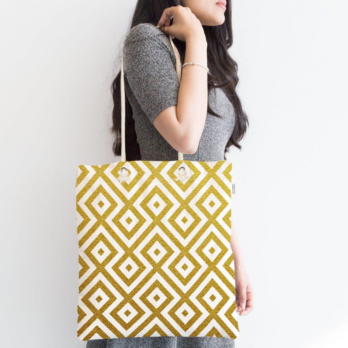 Altın Renkli Geometrik Desenli Özel Tasarım Fermuarlı Kumaş Çanta Realhomes