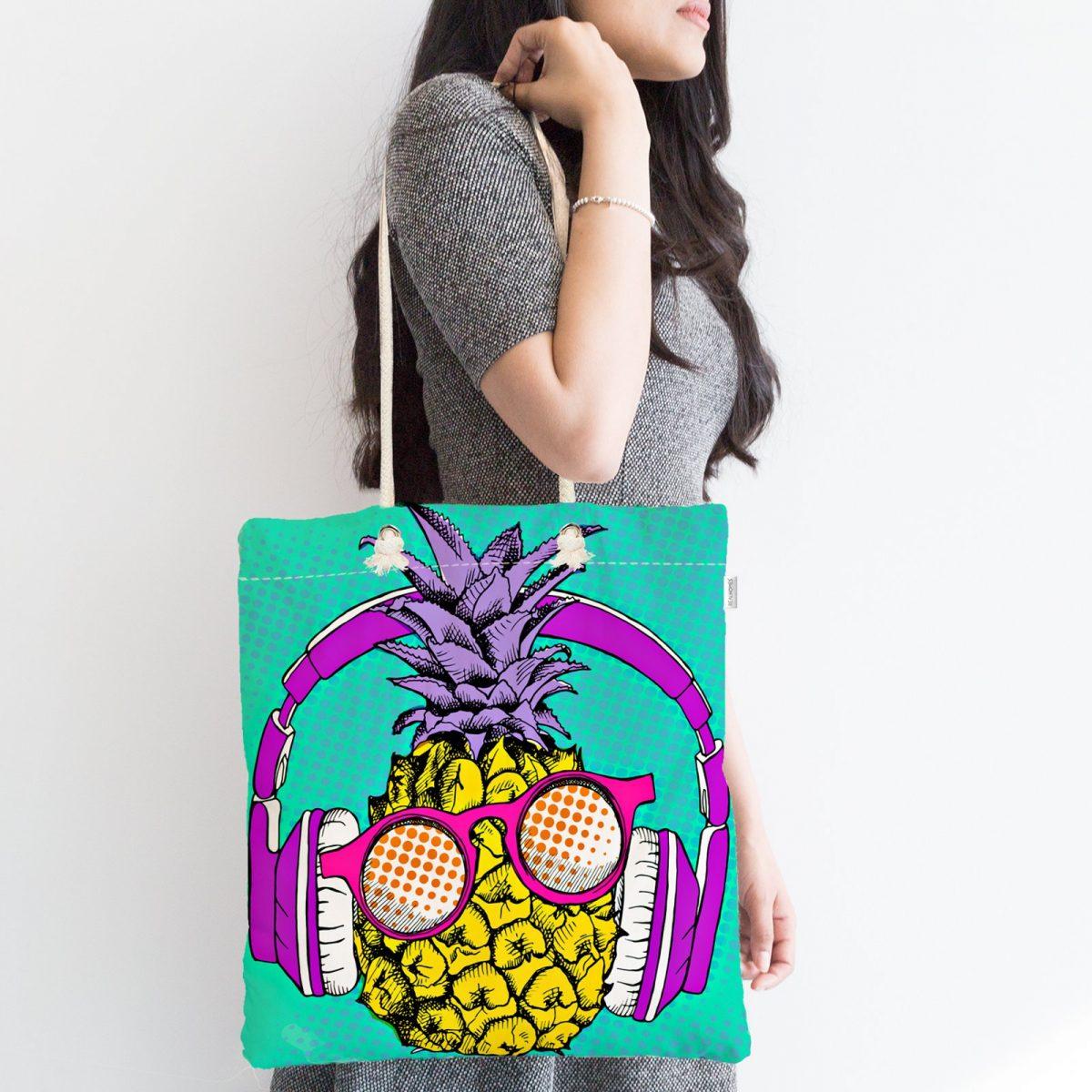 Mavi Zeminde Ananas Desenli Dijital Baskılı Fermuarlı Kumaş Çanta Realhomes