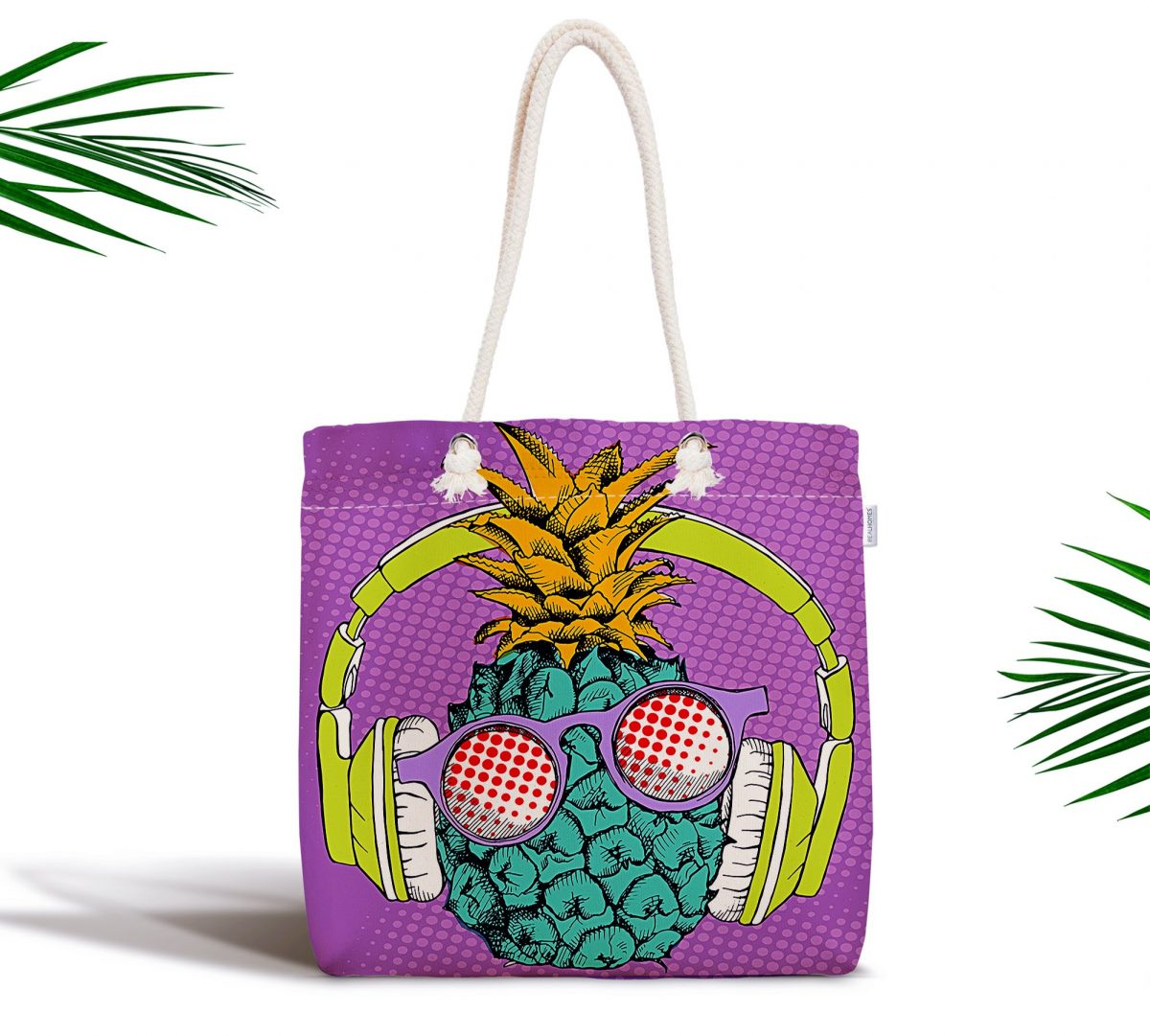 Mor Zeminde Tropikal Ananas Desenli Dijital Baskılı Fermuarlı Kumaş Çanta Realhomes