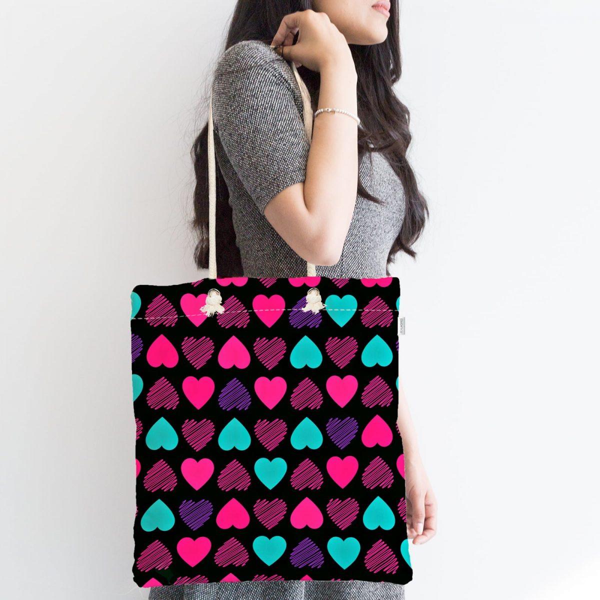 Siyah Zeminde Kalpler Özel Tasarımlı Fermuarlı Modern Kumaş Çanta Realhomes