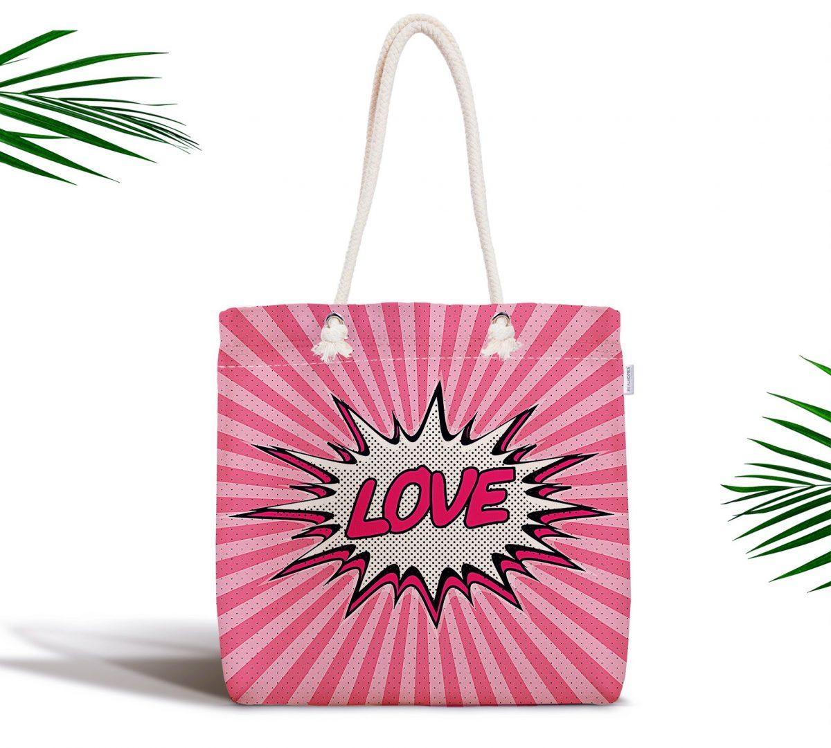 Retro Love Özel Tasarımlı Dijital Baskılı Fermuarlı Kumaş Çanta Realhomes