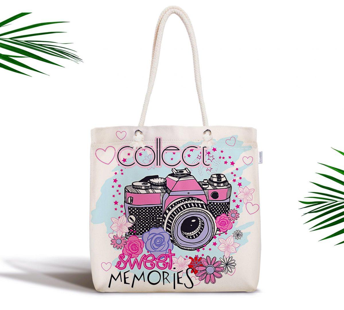 Sweet Memories Özel Tasarım Dijital Baskılı Fermuarlı Kumaş Çanta Realhomes