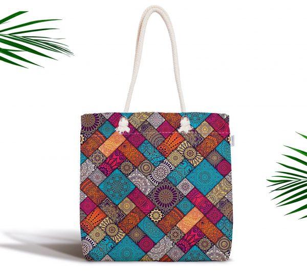 Geometrik Etnik Desenli Özel Tasarım Fermuarlı Kumaş Çanta Realhomes