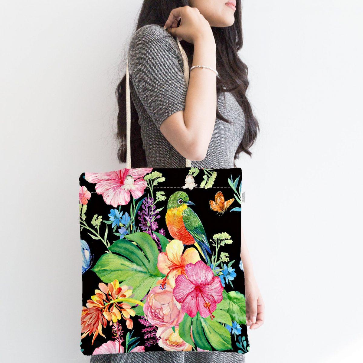 Watercolor Çiçek ve Kuş Motifli Özel Tasarım Fermuarlı Kumaş Çanta Realhomes