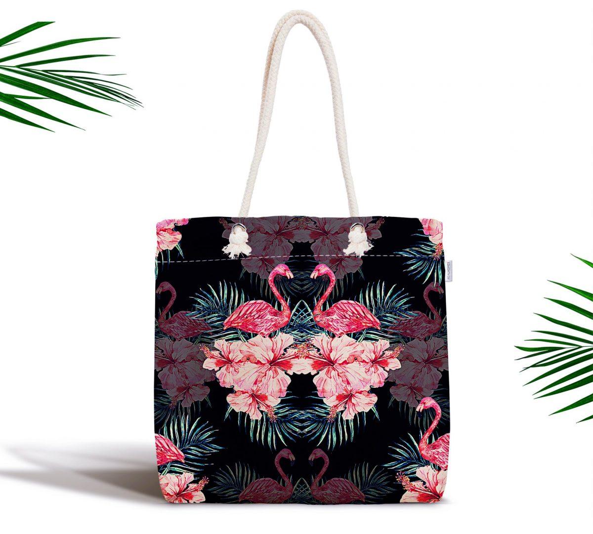 Siyah Zeminde Lilyum ve Flamingo Özel Tasarım Fermuarlı Kumaş Çanta Realhomes