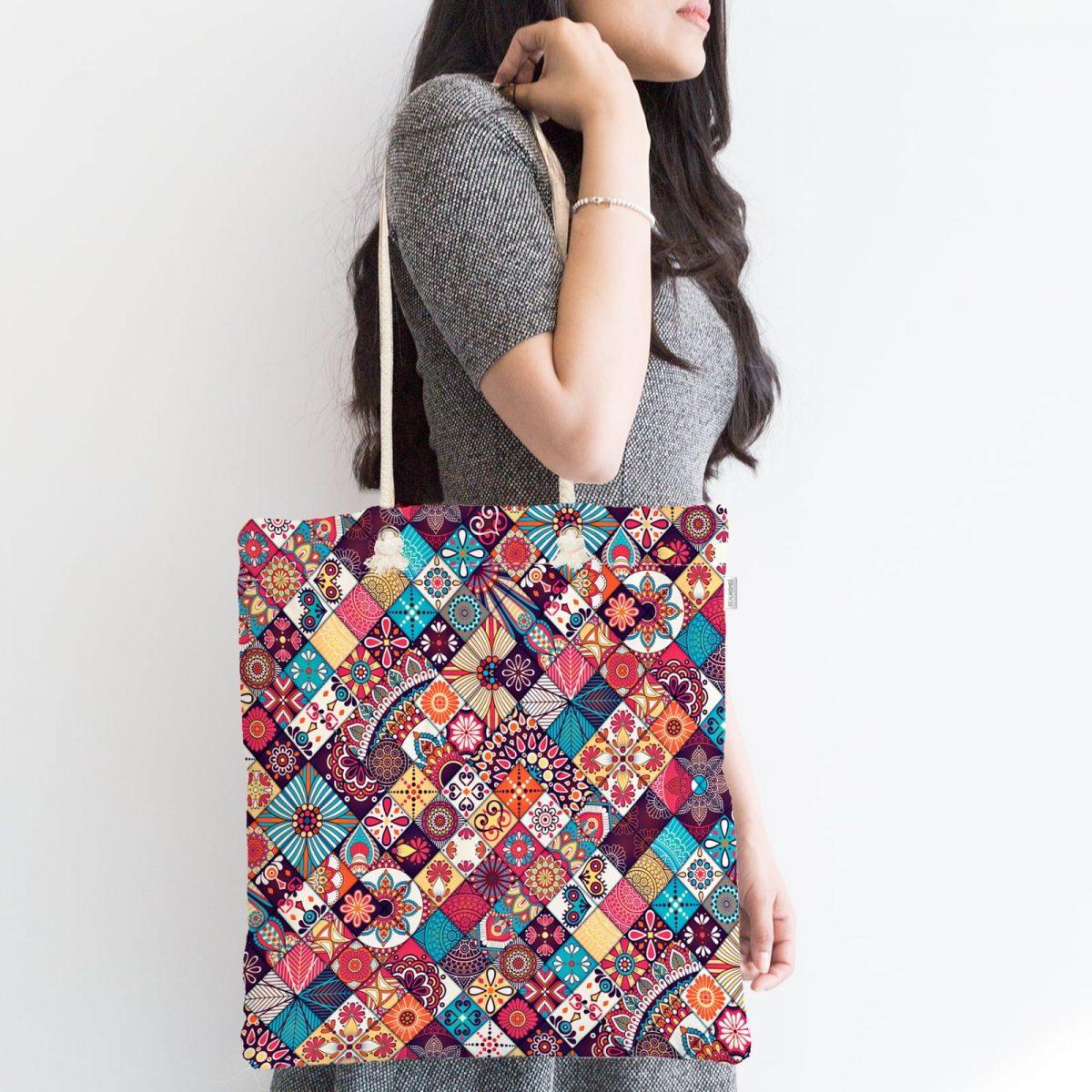 Etnik Geometrik Desenli Özel Tasarım Fermuarlı Kumaş Çanta Realhomes