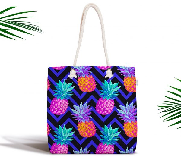 Mavi Zigzag Zeminli Ananas Desenli Fermuarlı Modern Kumaş Çanta Realhomes