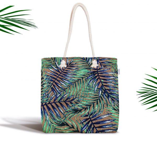 Çuval Zeminde Renkli Yapraklar Desenli Fermuarlı Modern Kumaş Çanta Realhomes