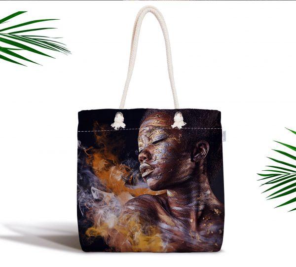 African Woman Etnik Desenli Dijital Baskılı Fermuarlı Kumaş Çanta Realhomes