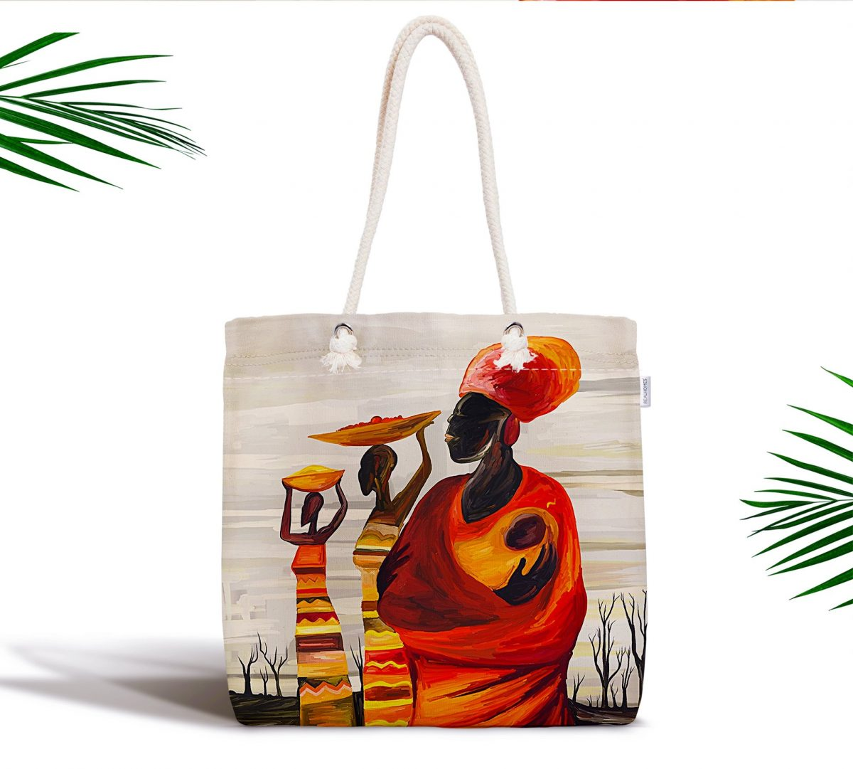 Afrikan Yağlı Boya Çizimli 3D Fermuarlı Modern Kumaş Çanta Realhomes