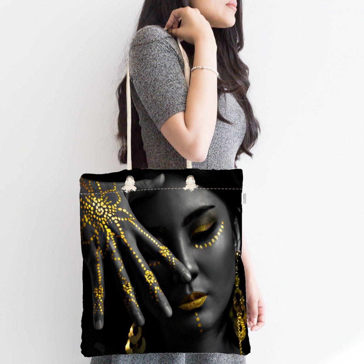 Siyahi Kadın Tasarımlı 3D Dijital Baskılı Modern Fermuarlı Kumaş Çanta Realhomes