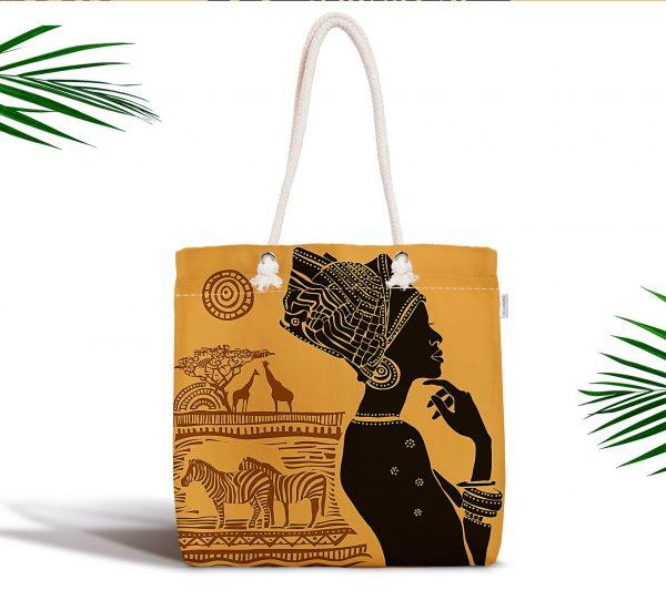 African Etnik Tasarım Dijital Baskılı Fermuarlı Modern Kumaş Çanta Realhomes
