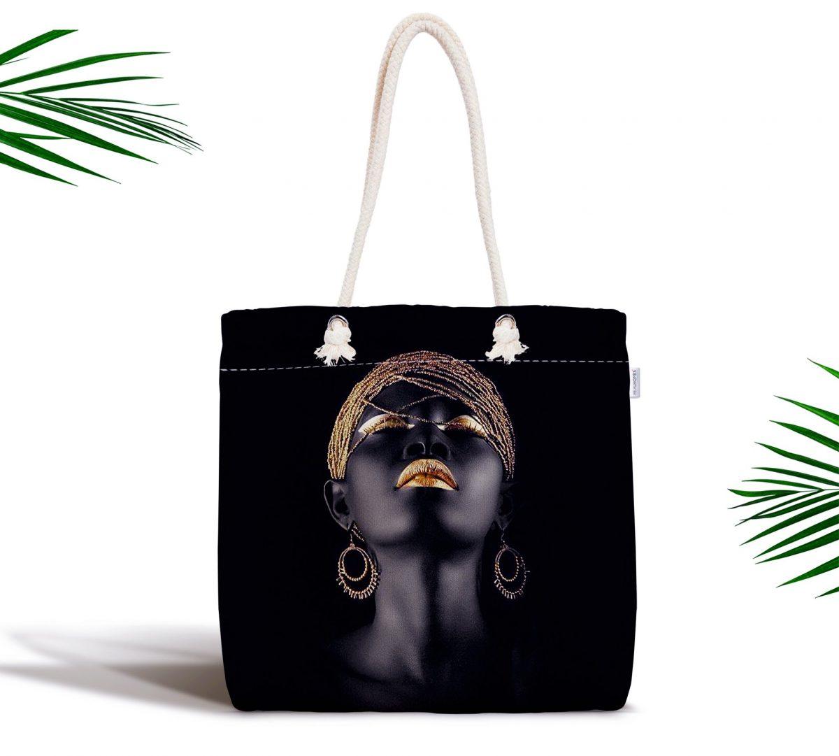 Siyahi Kadın Özel Tasarımlı Modern Fermuarlı Modern Kumaş Çanta Realhomes