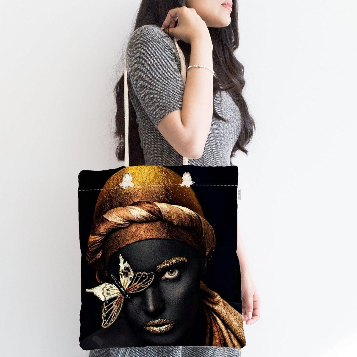 Gold Siyahı Kadın Özel Tasarımlı Fermuarlı Modern Kumaş Çanta Realhomes