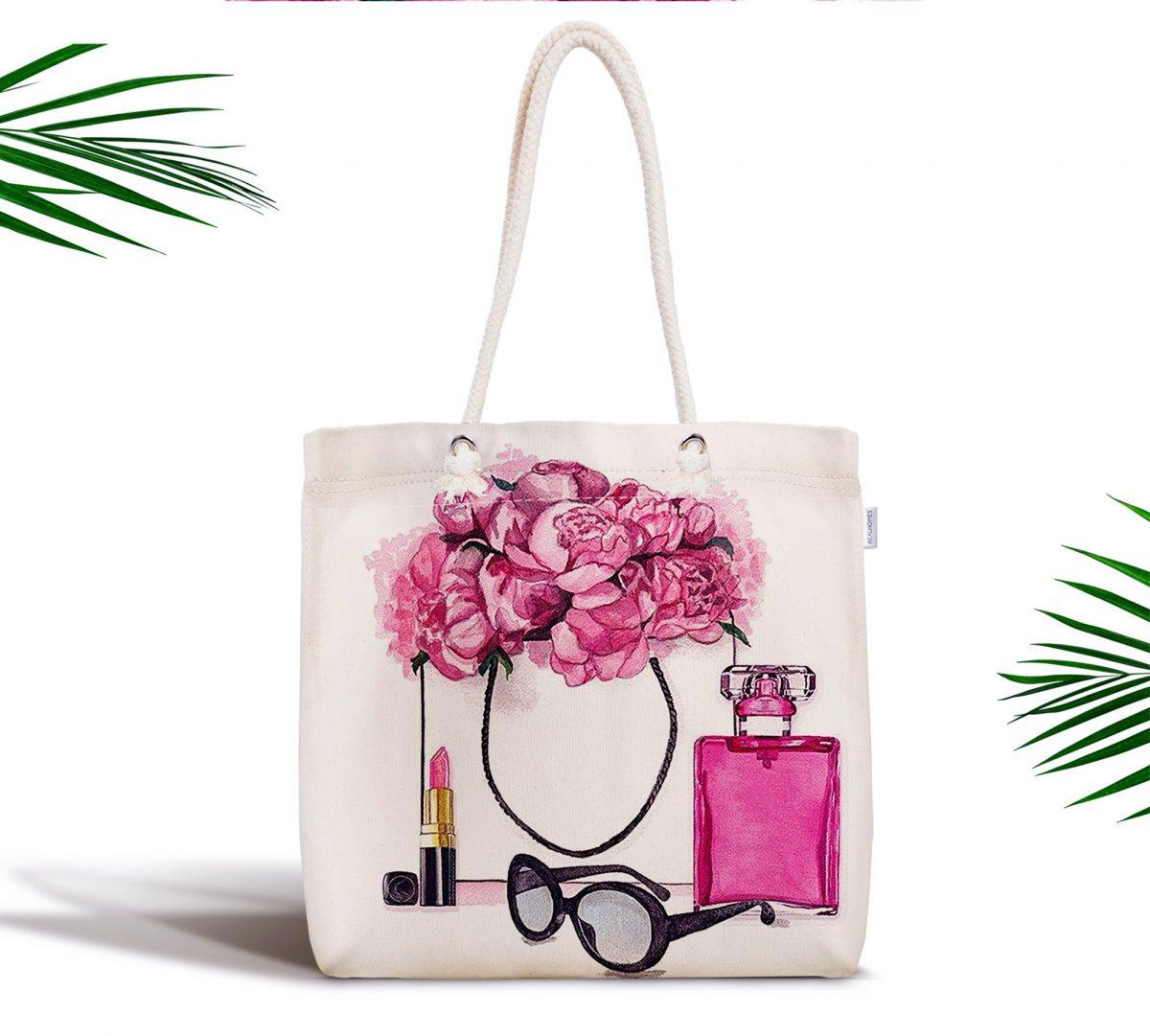 Coco Shopping Tasarımlı Dijital Baskılı Fermuarlı Kumaş Çanta Realhomes