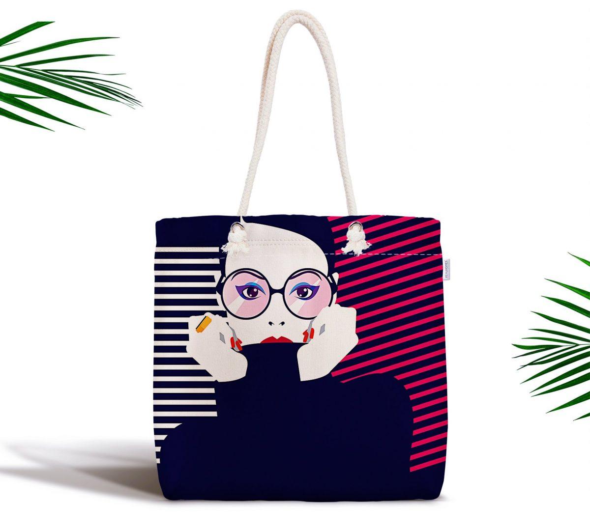 Icon Women Özel Tasarımlı Dijital Baskılı Fermuarlı Kumaş Çanta Realhomes