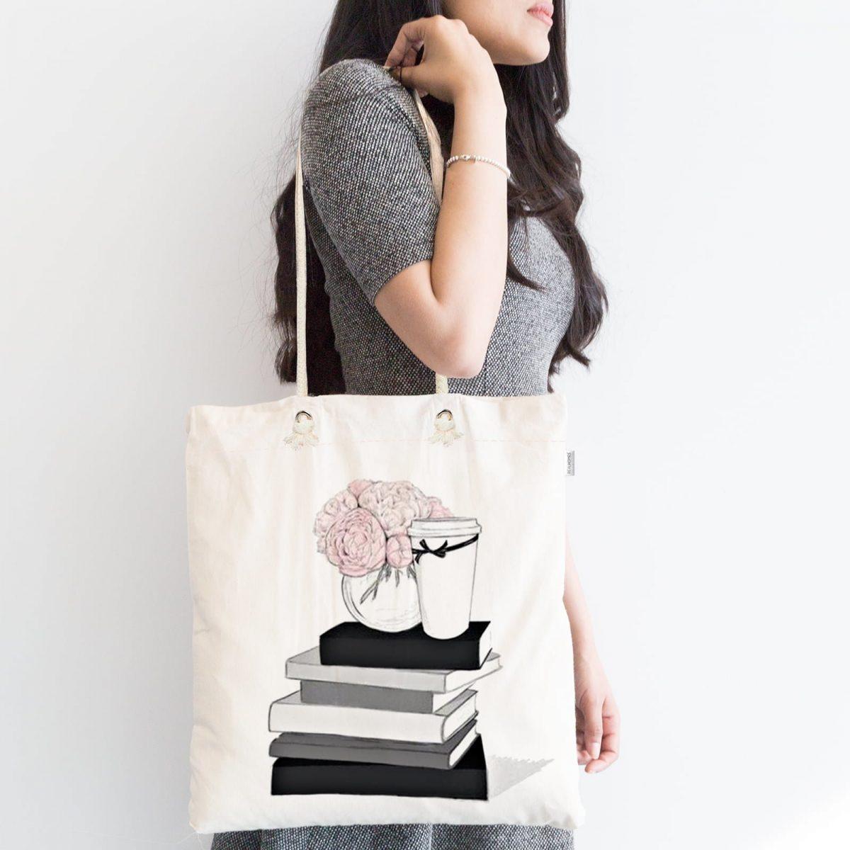 Gül Kitap ve Kahve Tasarımlı Dijital Baskılı Fermuarlı Kumaş Çanta Realhomes