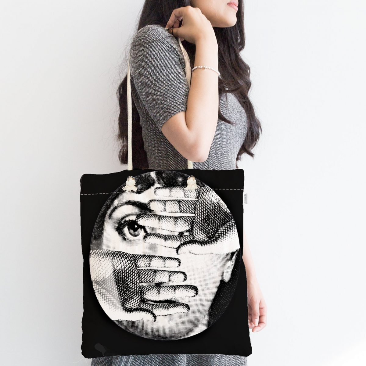 Siyah - Beyaz Fornosetti Tasarımlı Modern Fermuarlı Modern Kumaş Çanta Realhomes