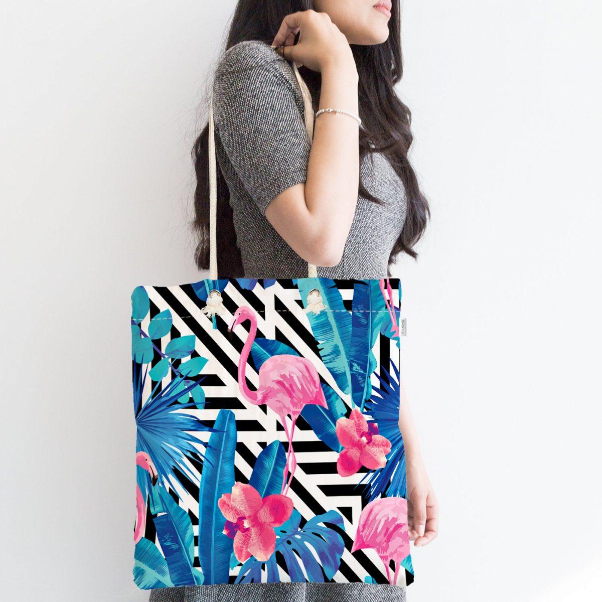Geometrik Mavi Pempe Flamingo Tasarımlı Dijital Baskılı Fermuarlı Kumaş Çanta Realhomes