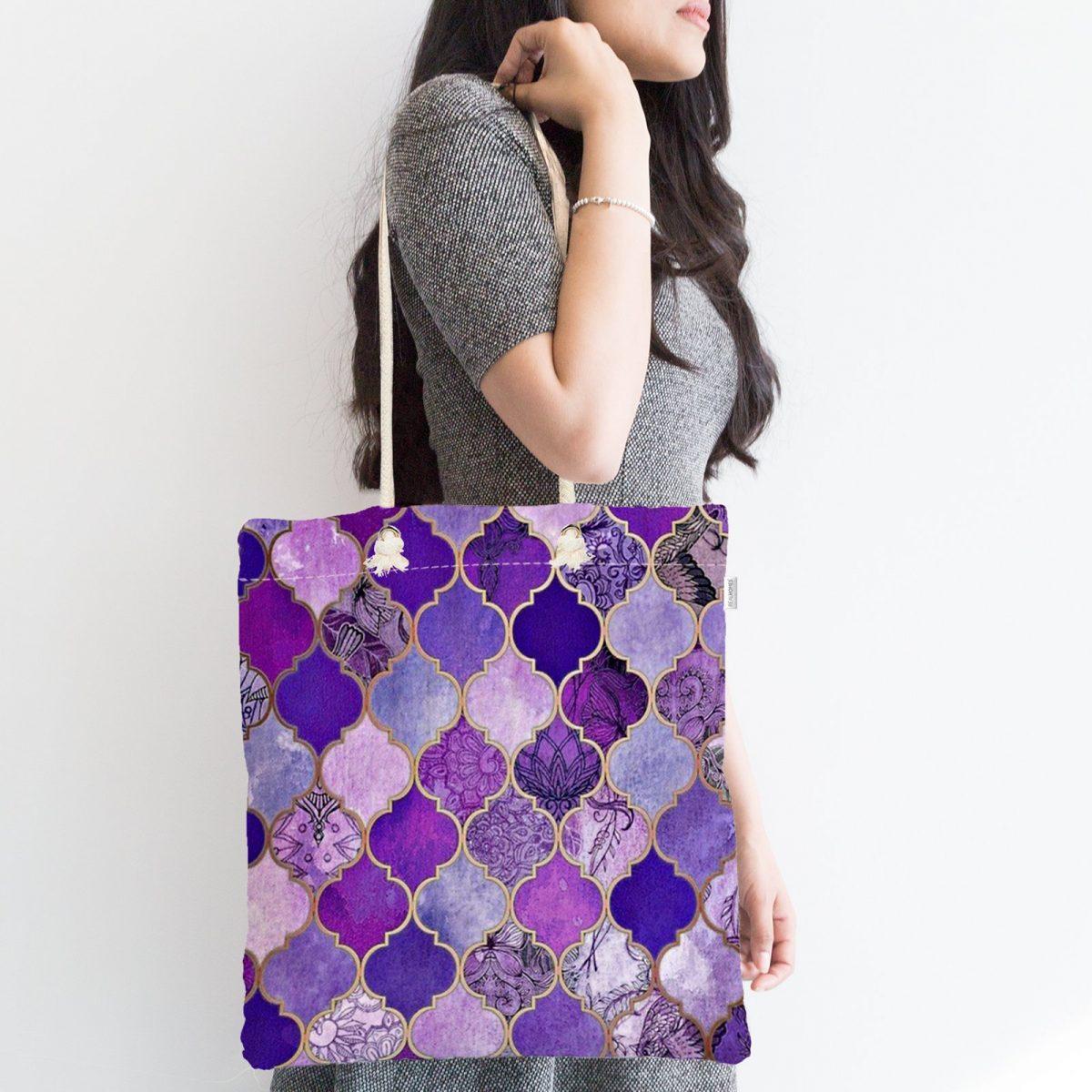 Mor Renkli Ogea Desenli Özel Tasarım Fermuarlı Modern Kumaş Çanta Realhomes