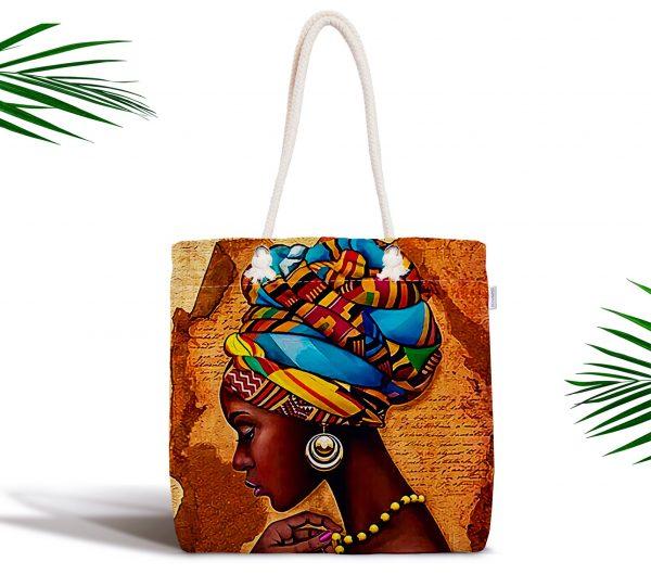 African Woman Çizimli Dijital Baskılı Modern Fermuarlı Kumaş Çanta Realhomes