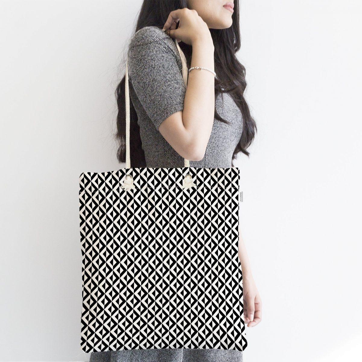 Siyah Beyaz Üçgen Geometrik Desenli Dijital Baskılı Fermuarlı Kumaş Çanta Realhomes