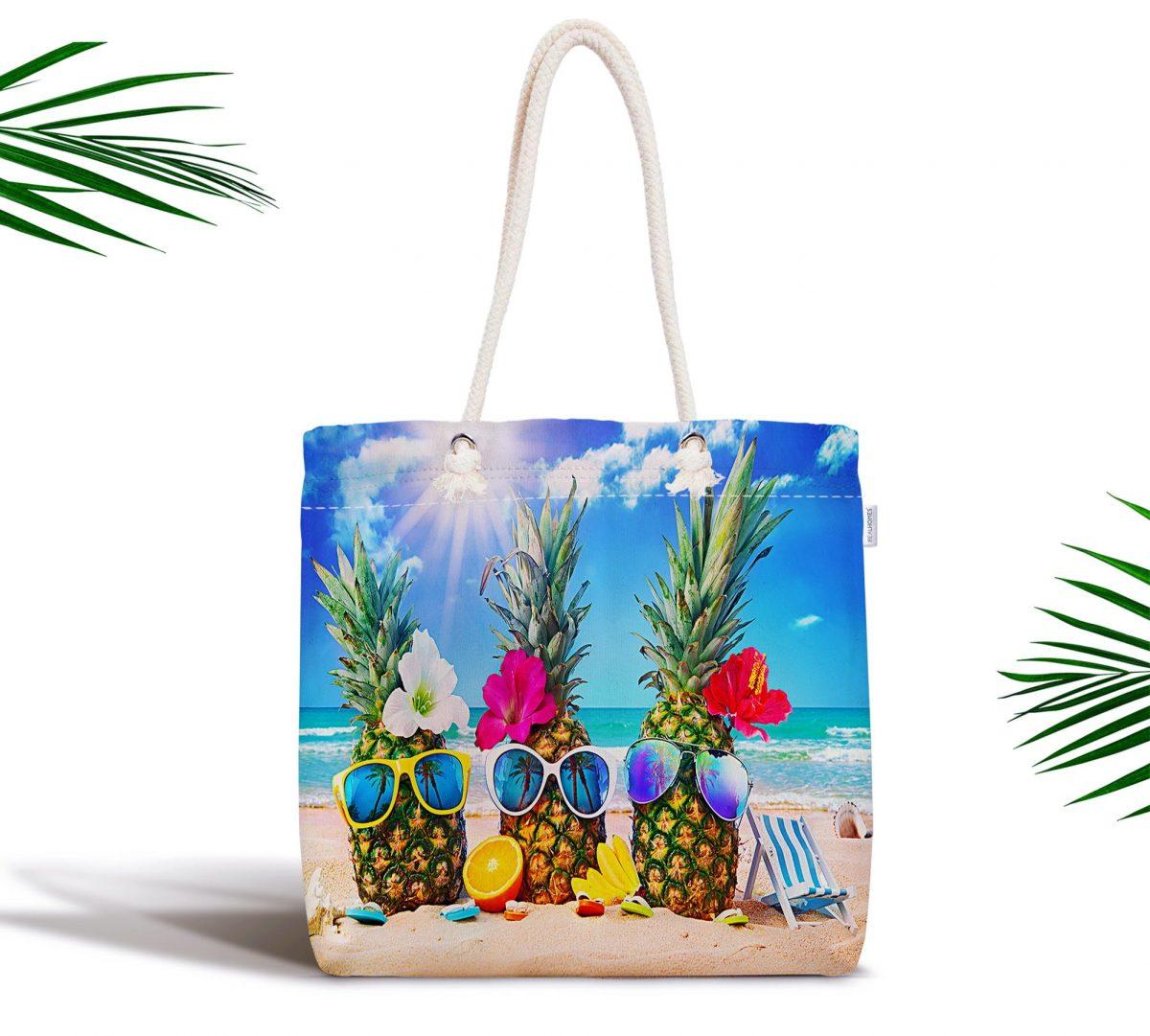 Sahilde Ananaslar Özel Tasarım Dijital Baskılı Fermuarlı Kumaş Çanta Realhomes