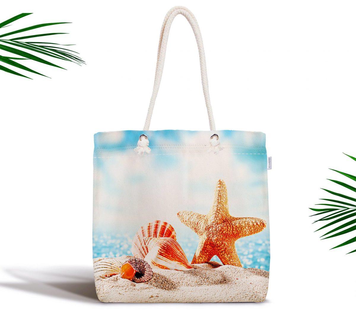Sahilde Deniz Yıldızları Özel Tasarım Dijital Baskılı Fermuarlı Kumaş Çanta Realhomes