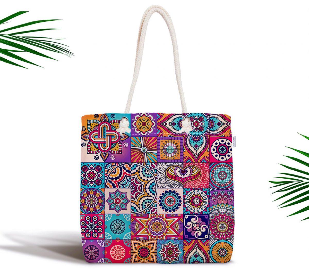 Mozaik Desenli Özel Tasarımlı Fermuarlı Dijital Baskılı Kumaş Çanta Realhomes