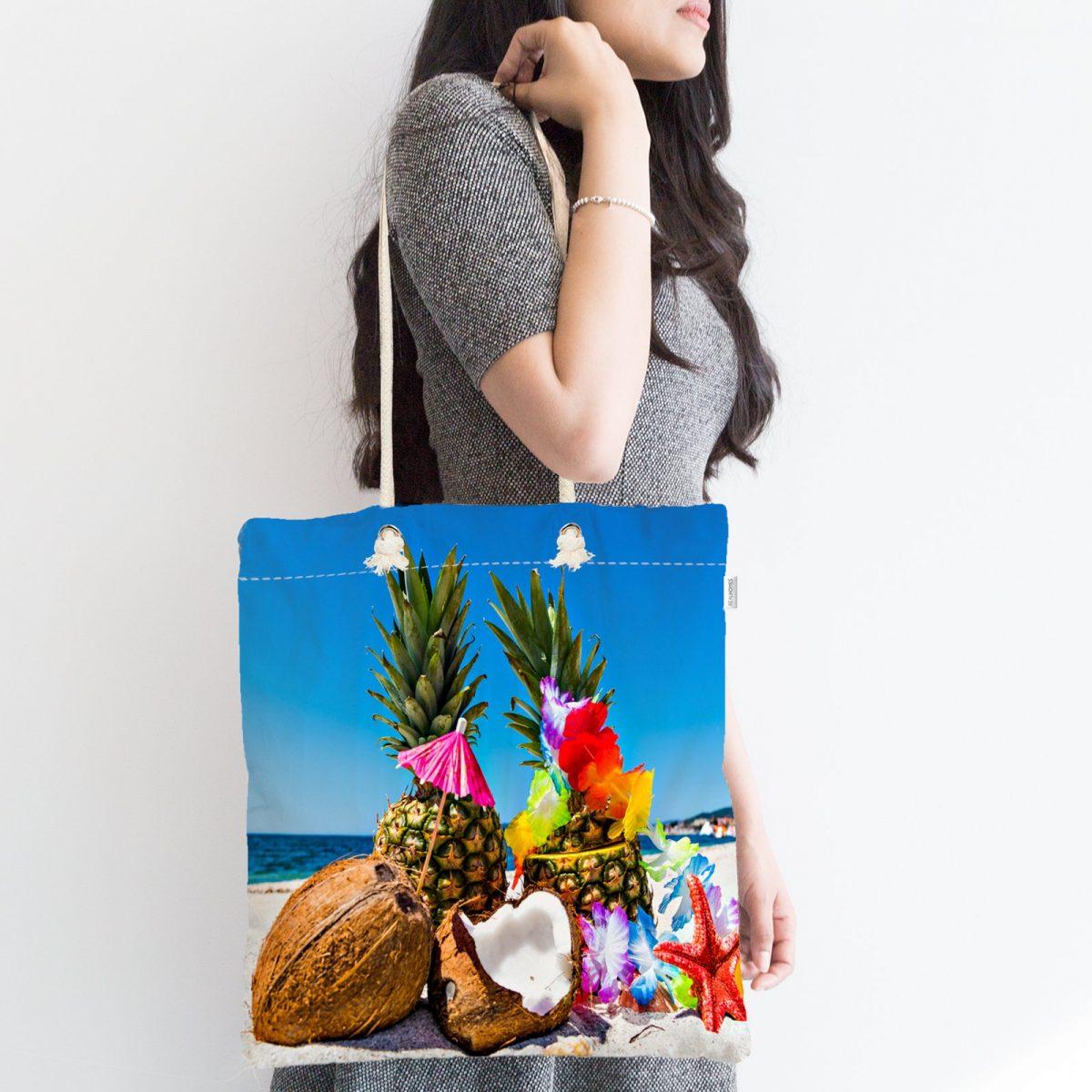 Sahilde Ananaslar Dijital Baskılı Fermuarlı Plaj Çantası Realhomes