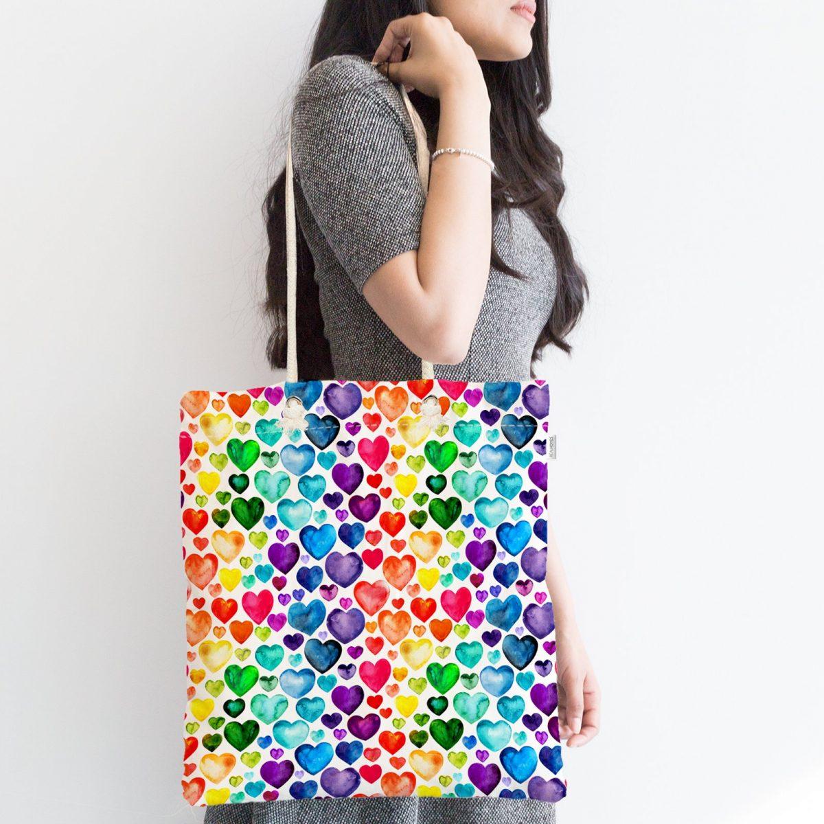 Özel Tasarım Renkli Kalpler Dijital Baskılı Kumaş Çanta Realhomes