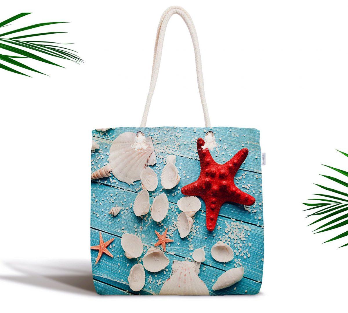 Deniz Yıldızı Özel Tasarımlı Dijital Baskılı Kumaş Çanta Realhomes