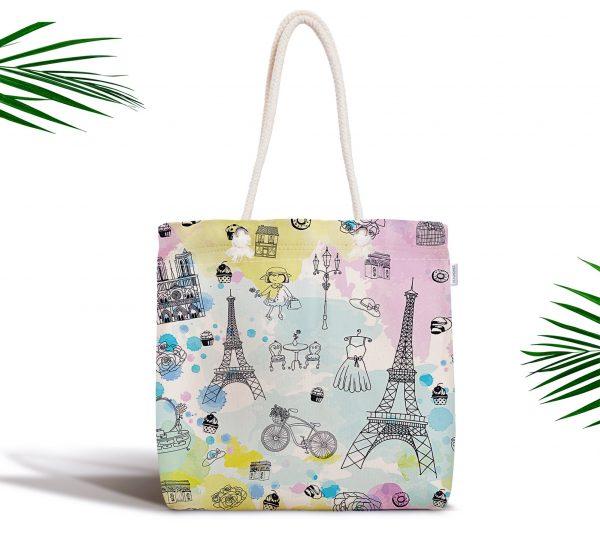 Özel Tasarım Paris Fashion Dijital Baskılı Fermuarlı Kumaş Çanta Realhomes