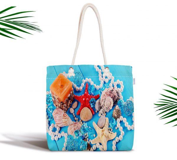 Mavi Zeminli Deniz Yıldızları Özel Tasarım Fermuarlı Kumaş Çanta Realhomes