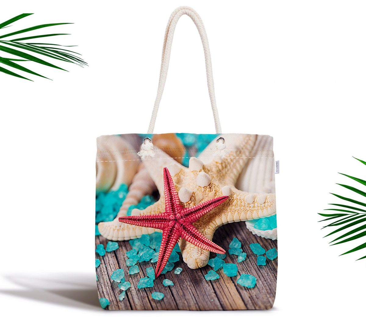 Renkli Deniz Yıldızları Özel Tasarımlı Fermuarlı Kumaş Çanta Realhomes