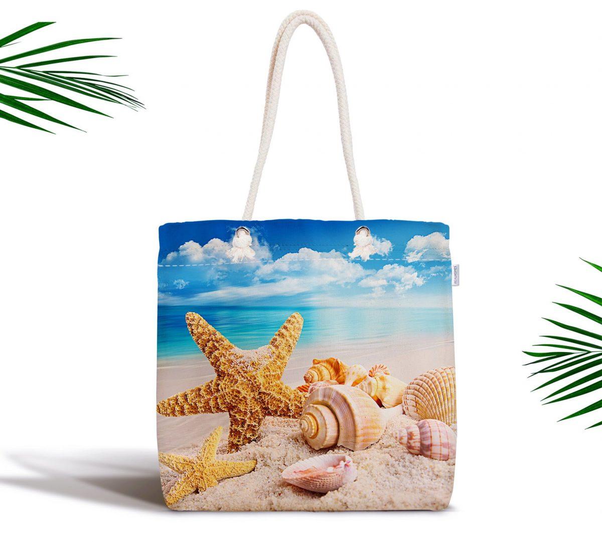 Deniz Yıldızı Midyeler Özel Tasarımlı Fermuarlı Plaj Çantası Realhomes