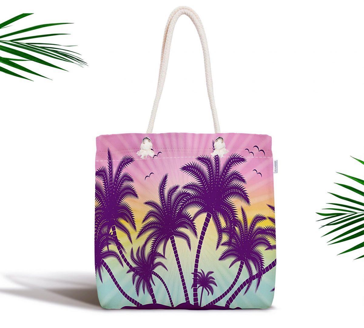 Renkli Zeminde Palmiye Motifli Dijital Baskılı Modern Plaj Çantası Realhomes
