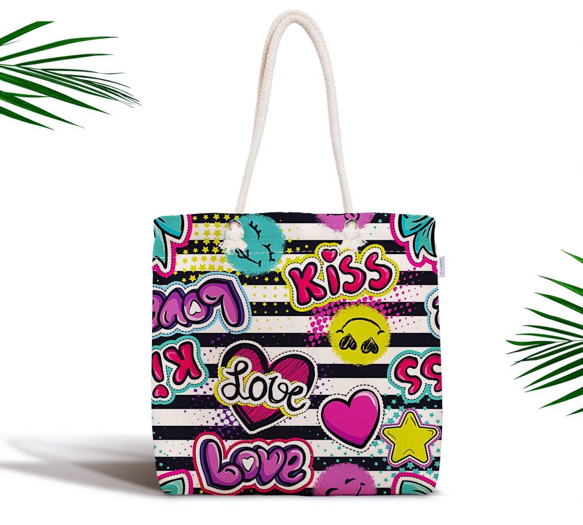 Kiss Love Pop Art Tasarımlı Dijital Baskılı Fermuarlı Kumaş Çanta Realhomes