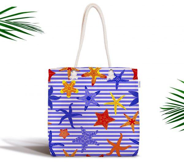 Çizgili Mavi Deniz Yıldızı Özel Tasarım Dijital Baskılı Fermuarlı Kumaş Çanta Realhomes
