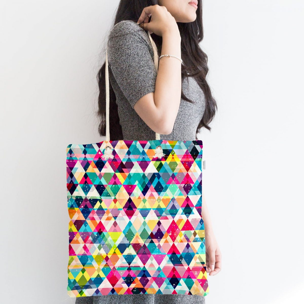 Modern Renkli Üçgen Tasarımlı Dijital Baskılı Fermuarlı Kumaş Çanta Realhomes
