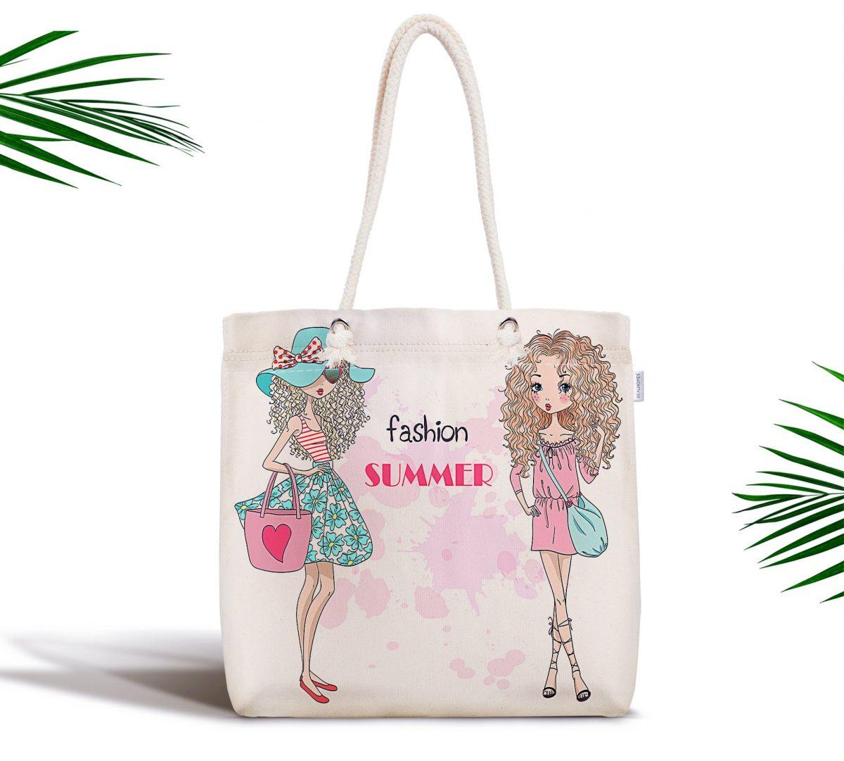 Fashion Summer Tasarımlı Dijital Baskılı Fermuarlı Bez Çanta Realhomes